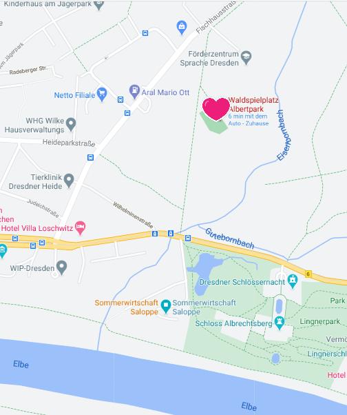 Karte für Anfahrt Albertpark